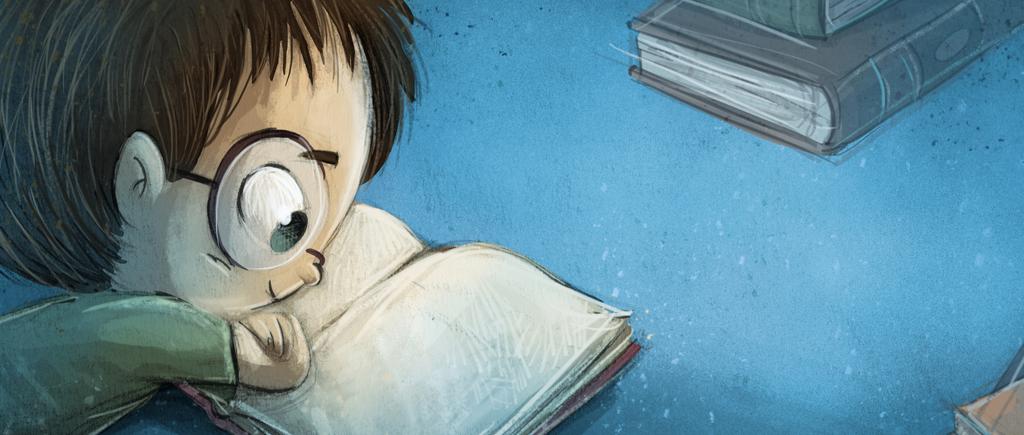 Bild eines Jungen 6 Jahre beim Lesen