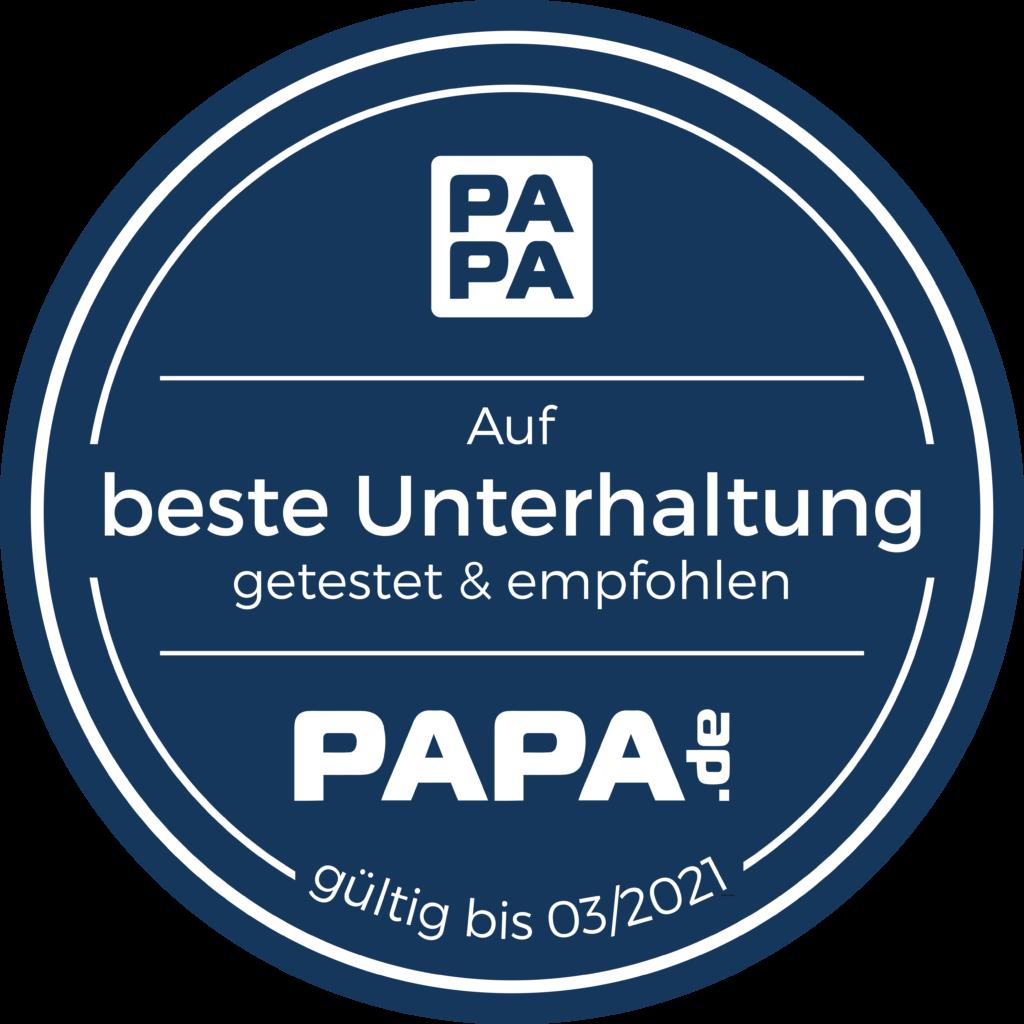 """Bild von Papa.de-Siegel """"Beste Unterhaltung"""""""