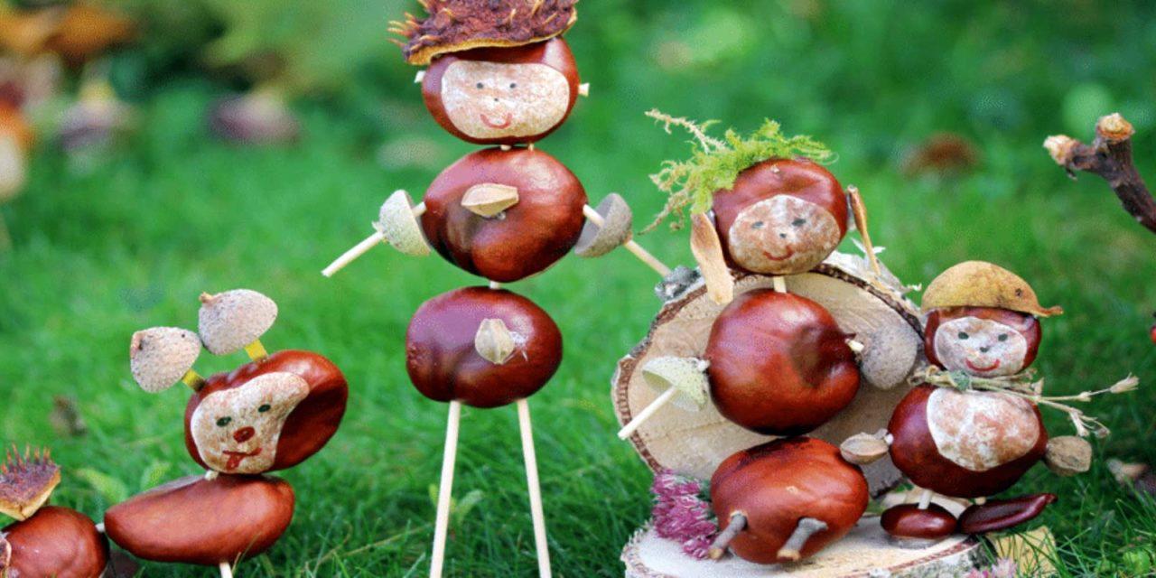 kastanien basteln mit kindern anleitung papade
