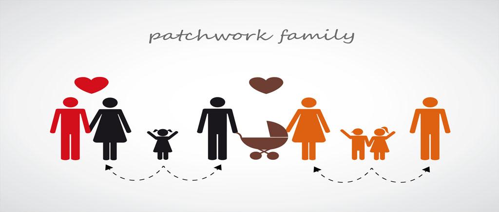 Bild gezeichnet Patchwork Familie